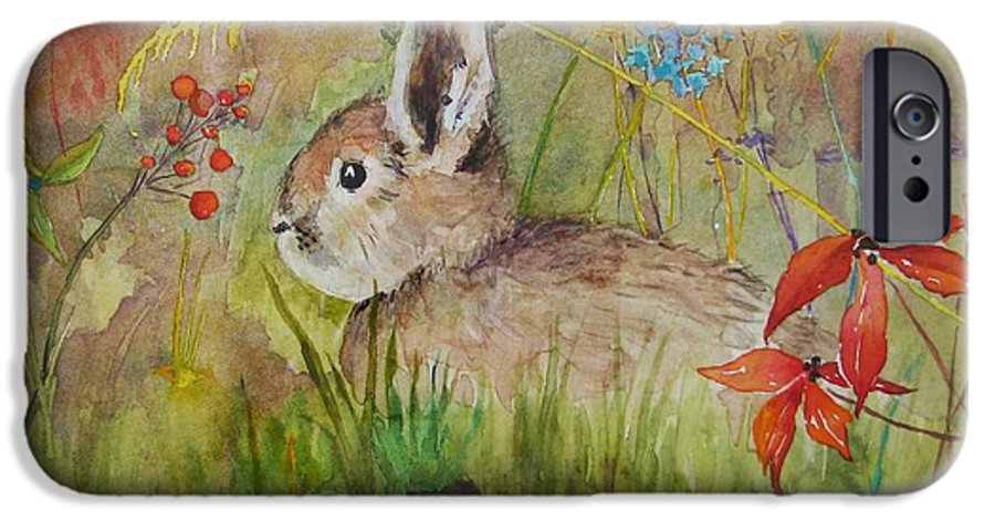 Nature IPhone 6 Case featuring the painting The Bunny by Mary Ellen Mueller Legault