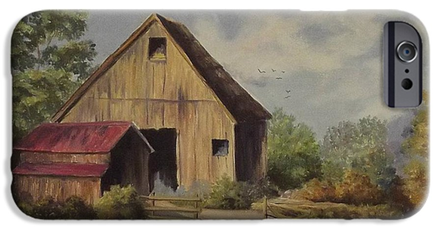 Landscape IPhone 6 Case featuring the painting The Deserted Barn by Wanda Dansereau