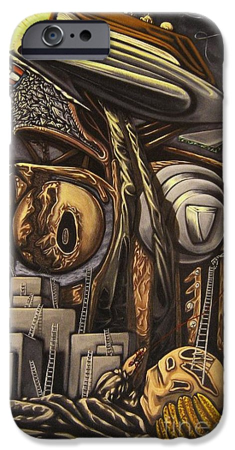 Surreal IPhone 6 Case featuring the painting The Dow Itcher by Mack Galixtar
