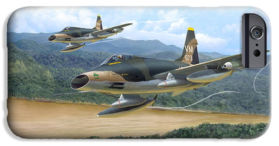 Aviation IPhone 6 Case featuring the painting The Hun - F-100 Super Sabres In Vietnam by Mark Karvon