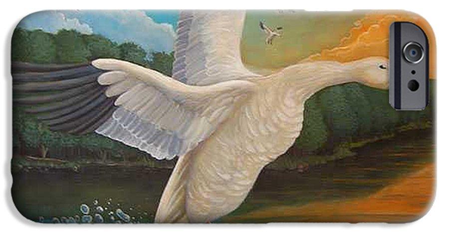 Rick Huotari IPhone 6 Case featuring the painting The Landing by Rick Huotari