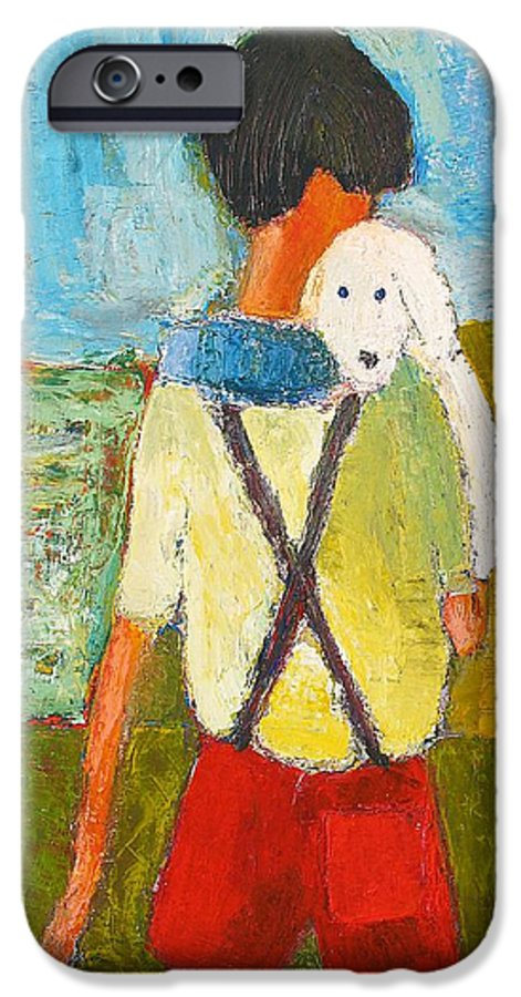 Abstract IPhone 6 Case featuring the painting The Little Puppy by Habib Ayat