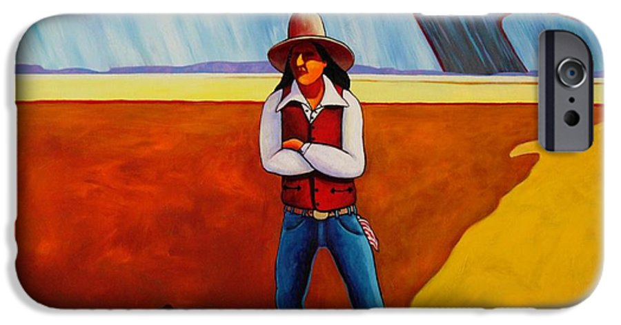 Native American IPhone 6 Case featuring the painting The Logic Of Solitude by Joe Triano