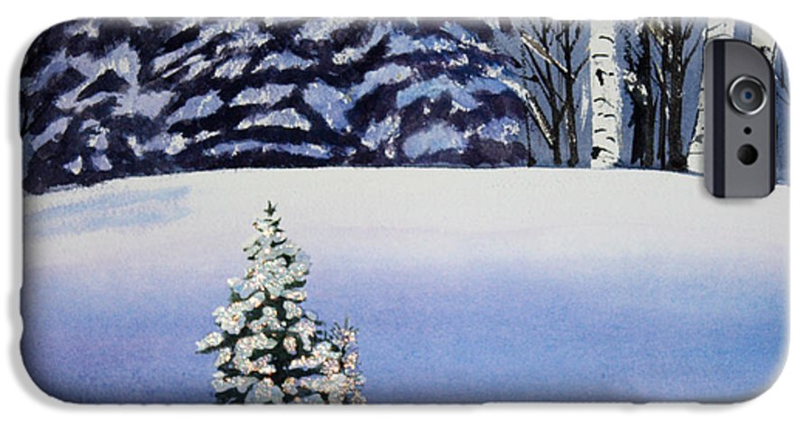 Christmas IPhone 6 Case featuring the painting The Lone Christmas Tree by Patricia Novack