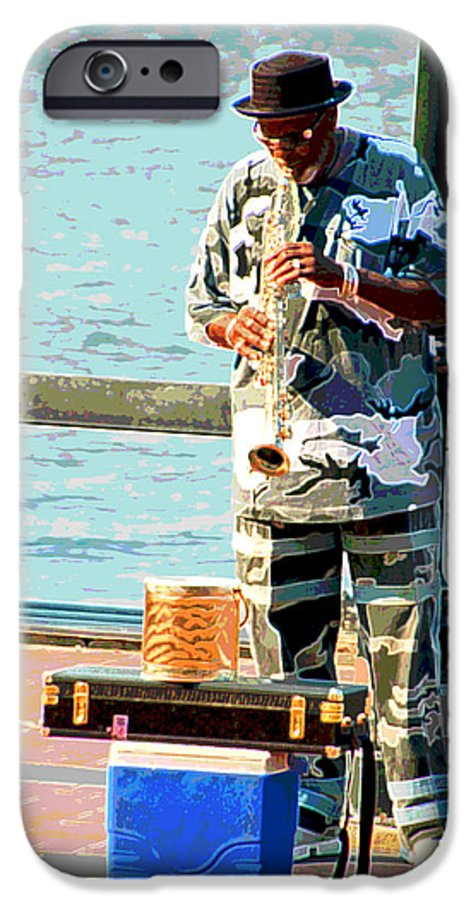 Soprano Saxophone IPhone 6 Case featuring the photograph The Music Man by Suzanne Gaff