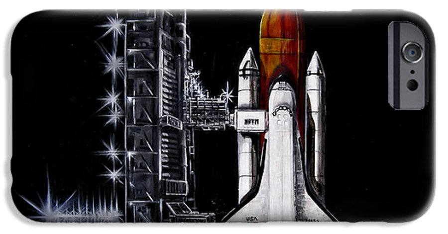 Shuttle IPhone 6 Case featuring the painting The Night Before by Murphy Elliott