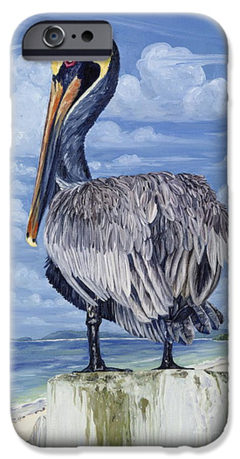 Seascape IPhone 6 Case featuring the painting The Pelican Perch by Danielle Perry