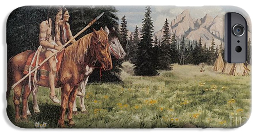 Landscape IPhone 6 Case featuring the painting The Tetons Early Tribes by Wanda Dansereau