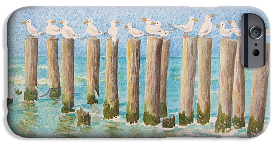 Seagulls IPhone 6 Case featuring the painting The Town Meeting by Mary Ellen Mueller Legault