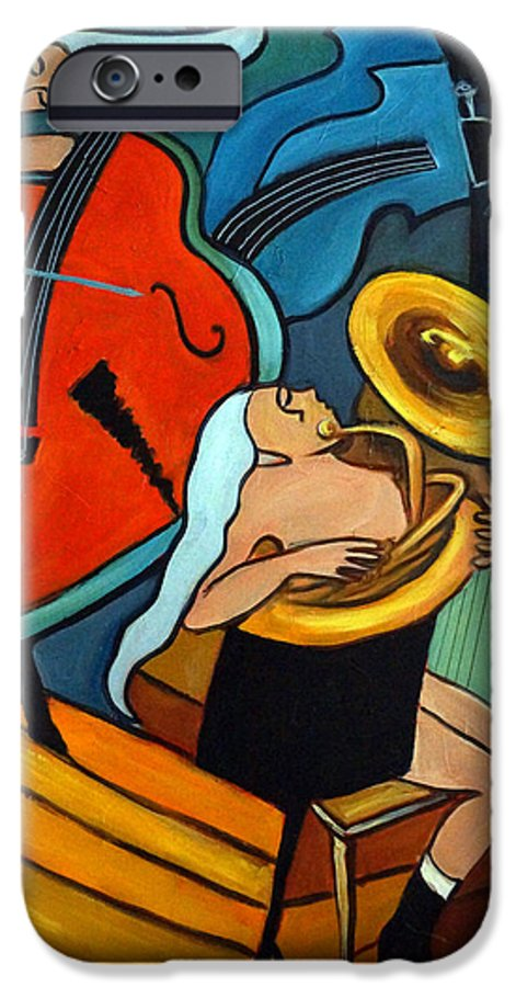Musician Abstract IPhone 6 Case featuring the painting The Tuba Player by Valerie Vescovi