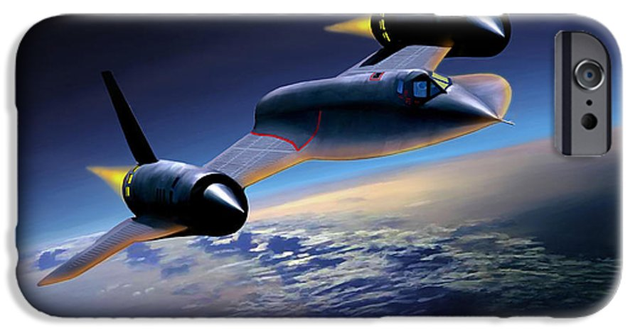 Airplane IPhone 6 Case featuring the painting The Untouchable Sr-71 Blackbird by Mark Karvon