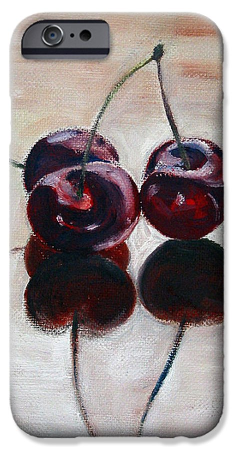 Food IPhone 6 Case featuring the painting Three Cherries by Sarah Lynch