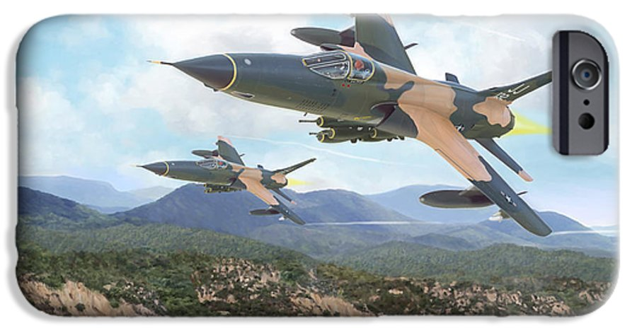 F-105 Thunderchief IPhone 6 Case featuring the painting Thuds Bringin' It Downtown by Mark Karvon