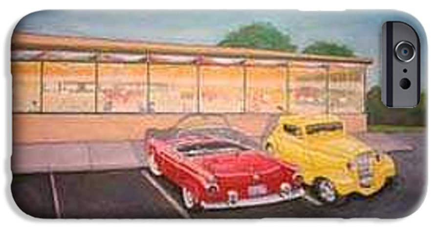 Rick Huotari IPhone 6 Case featuring the painting Times Past Diner by Rick Huotari