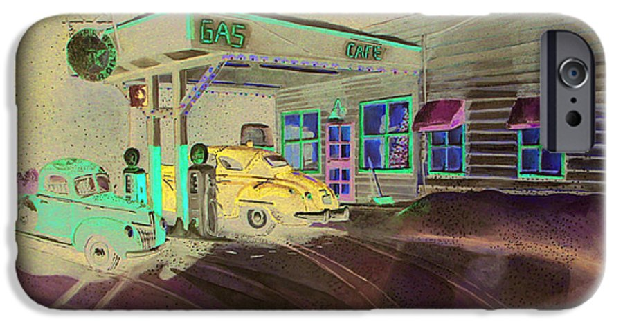 Rick Huotari IPhone 6 Case featuring the painting Times Past Gas Station by Rick Huotari