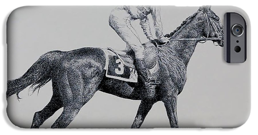 Racehorse Horse Horseracing Thorobreds Jockey IPhone 6 Case featuring the drawing To The Gate by Tony Ruggiero