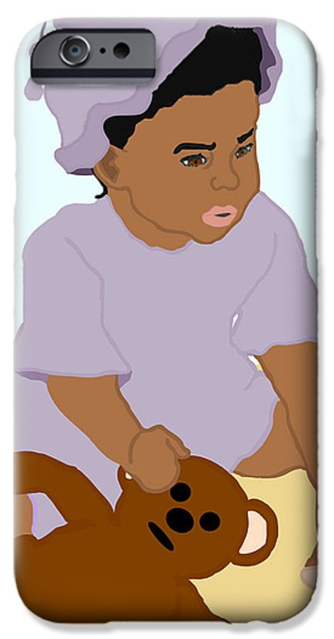 Toddler IPhone 6 Case featuring the painting Toddler And Teddy by Pharris Art