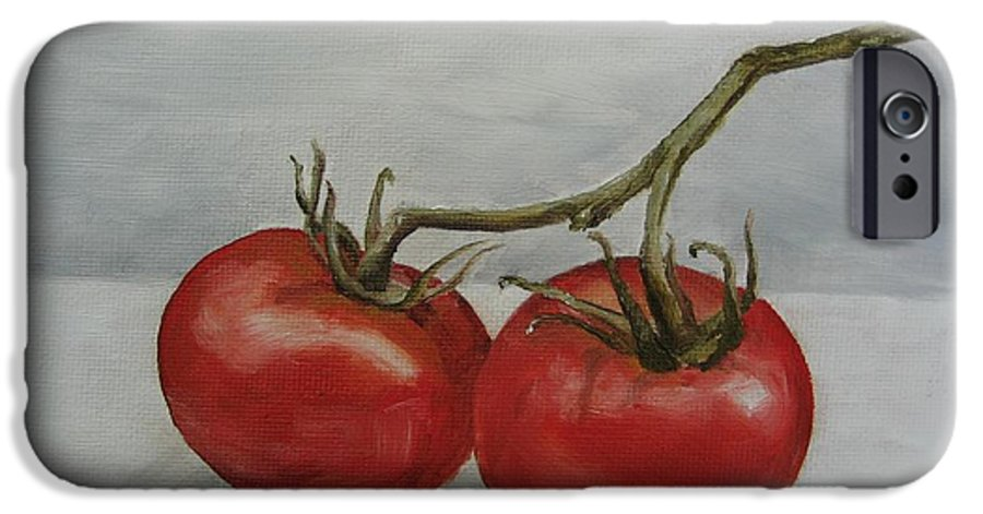 Oil IPhone 6 Case featuring the painting Tomatoes On Vine by Jindra Noewi