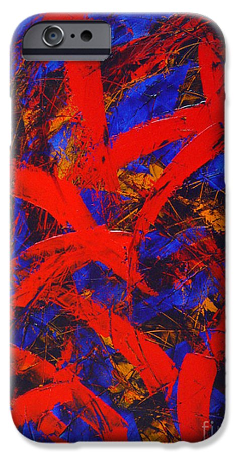 Abstract IPhone 6 Case featuring the painting Transitions With Blue And Red by Dean Triolo