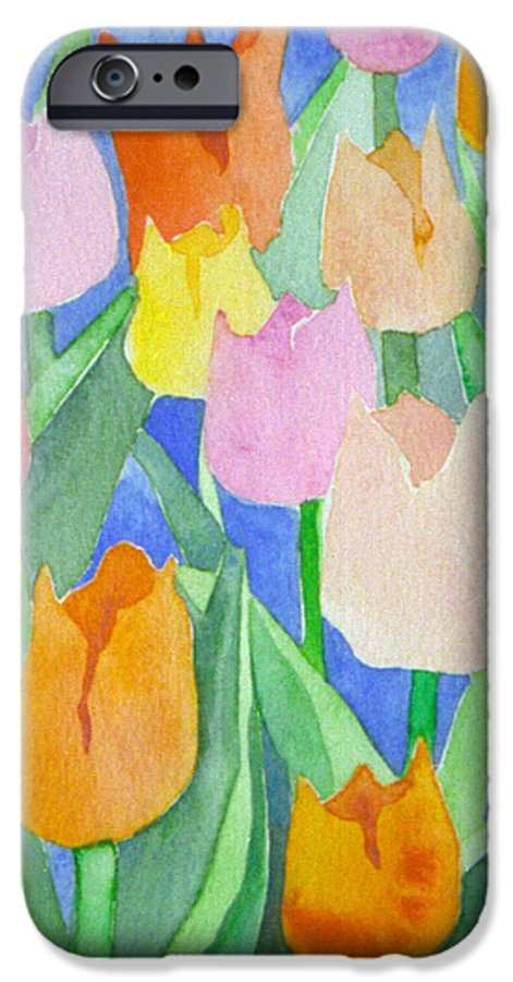 Tulips IPhone 6 Case featuring the painting Tulips Multicolor by Christina Rahm Galanis