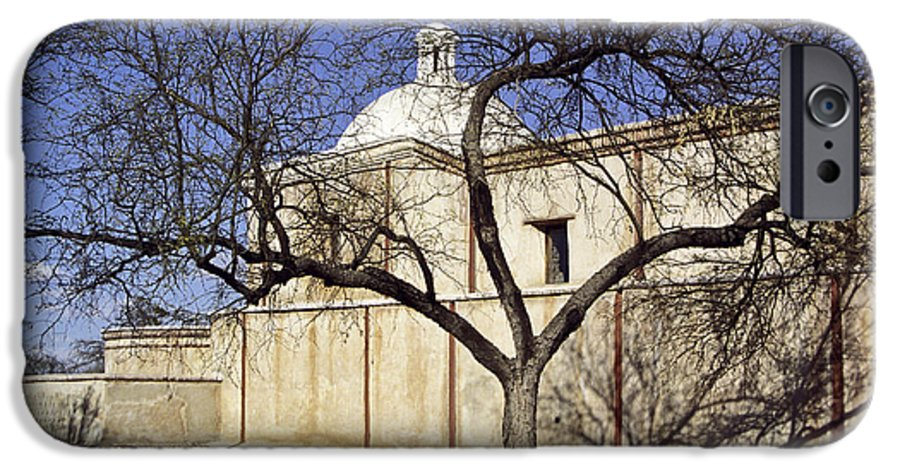 Mission IPhone 6 Case featuring the photograph Tumacacori With Tree by Kathy McClure
