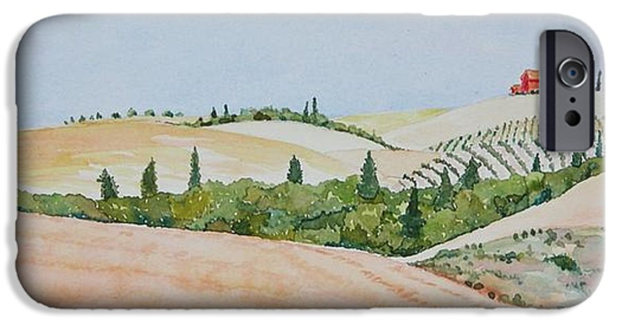 Landscape IPhone 6 Case featuring the painting Tuscan Hillside One by Mary Ellen Mueller Legault