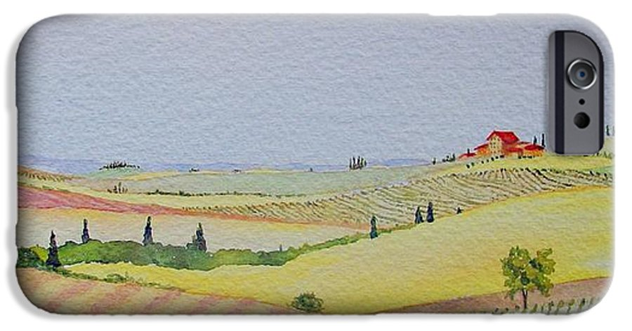 Watercolor IPhone 6 Case featuring the painting Tuscan Hillside Three by Mary Ellen Mueller Legault