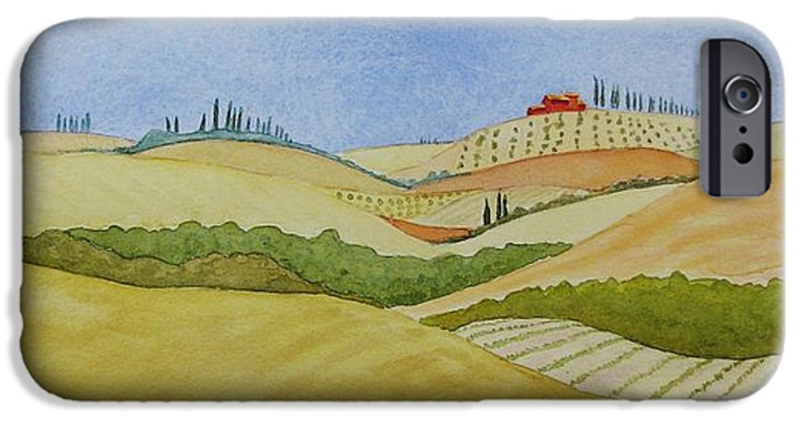 Italy IPhone 6 Case featuring the painting Tuscan Hillside Two by Mary Ellen Mueller Legault