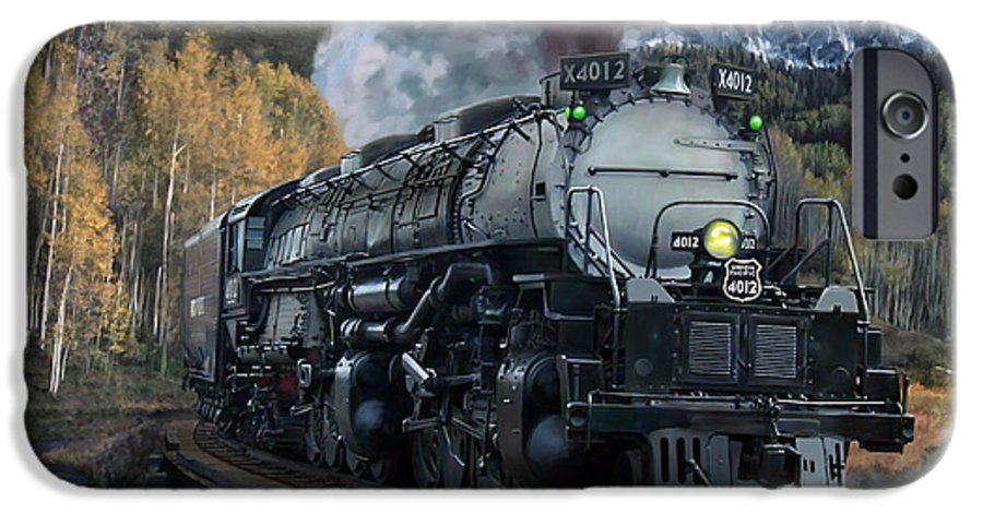 Railroad IPhone 6 Case featuring the painting Union Pacific 4-8-8-4 Big Boy by Mark Karvon