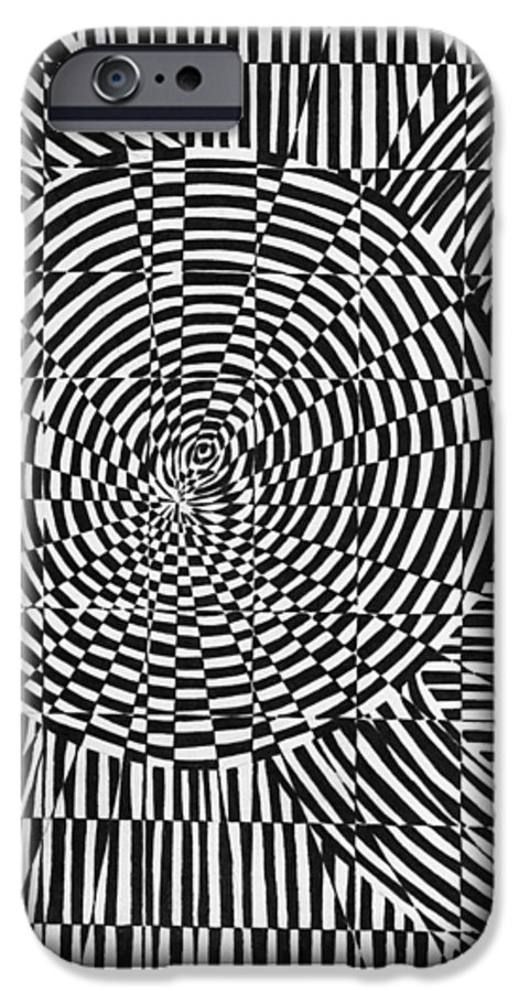 Abstract IPhone 6 Case featuring the drawing Unraveled by Crystal Hubbard