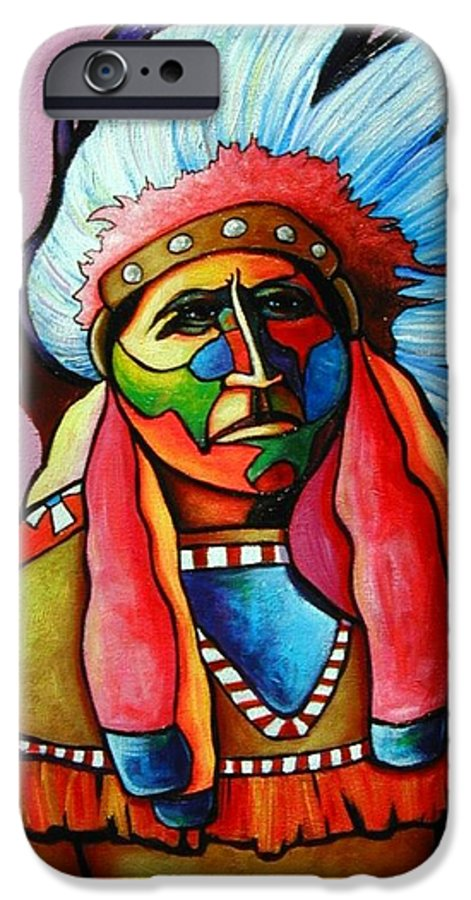 American Indian IPhone 6 Case featuring the painting Until I'm Breathless by Joe Triano