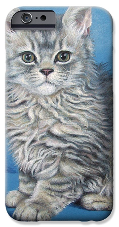 Cat IPhone 6 Case featuring the drawing Velvet Kitten by Nicole Zeug