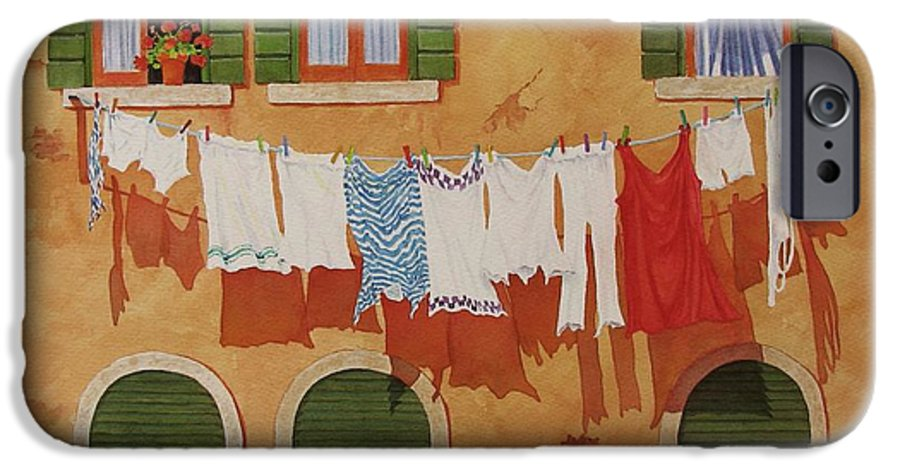 Venice IPhone 6 Case featuring the painting Venetian Washday by Mary Ellen Mueller Legault