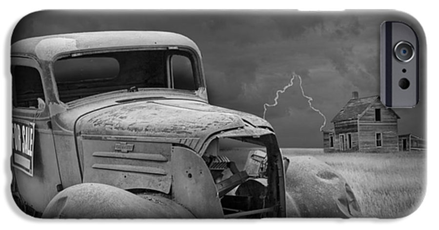Vintage Pickup And Farmhouse On The Prairie With Thunderstorm And Lightning  IPhone 6 Case