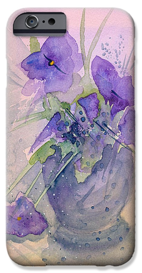Purple IPhone 6 Case featuring the painting Violets by Christina Rahm Galanis