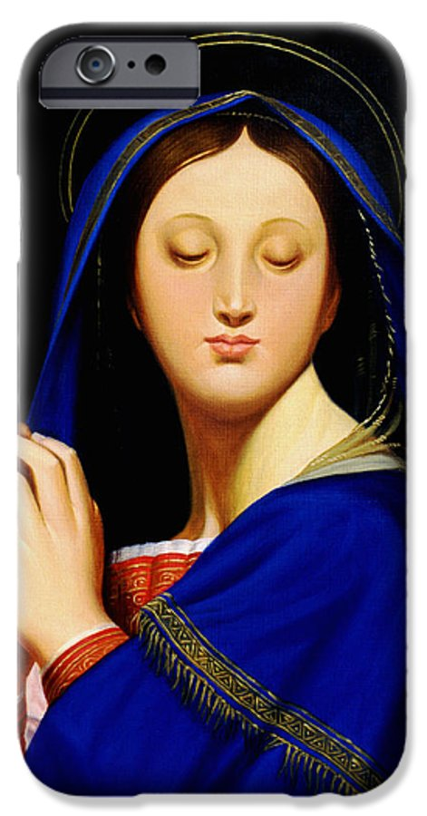 Religious IPhone 6 Case featuring the painting Virgin With The Host After Ingres by Gary Hernandez