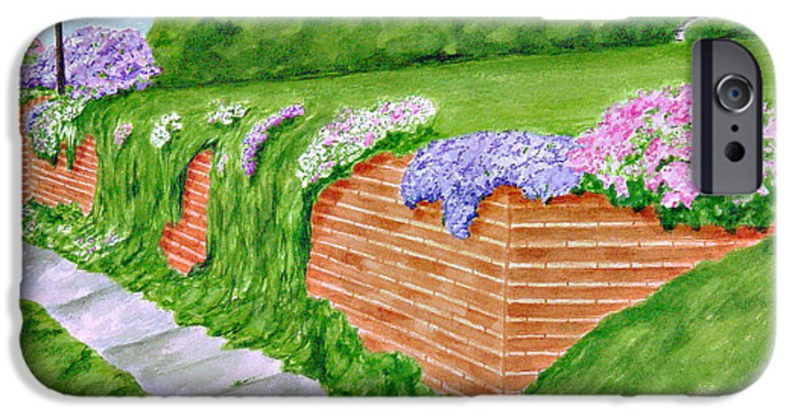 Landscape IPhone 6 Case featuring the painting Wall Of Flowers by Regan J Smith