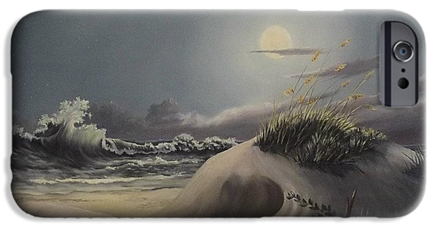 Landscape IPhone 6 Case featuring the painting Waves And Moonlight by Wanda Dansereau