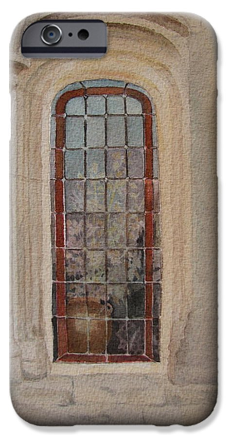 Window IPhone 6 Case featuring the painting What Is Behind The Window Pane by Mary Ellen Mueller Legault