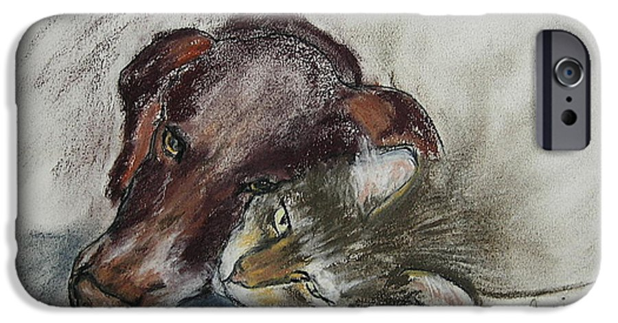 Dog IPhone 6 Case featuring the drawing Whisker To Whisker by Cori Solomon