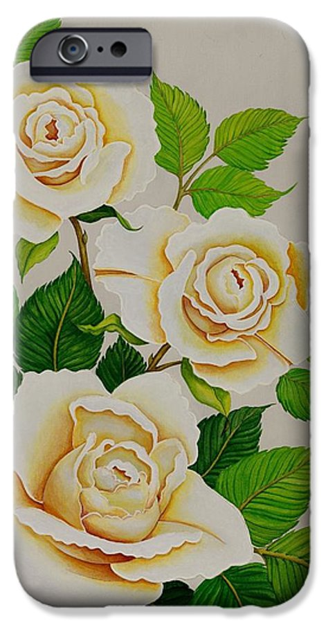 White Roses With Yellow Shading On A White Background. IPhone 6 Case featuring the painting White Roses - Vertical by Carol Sabo