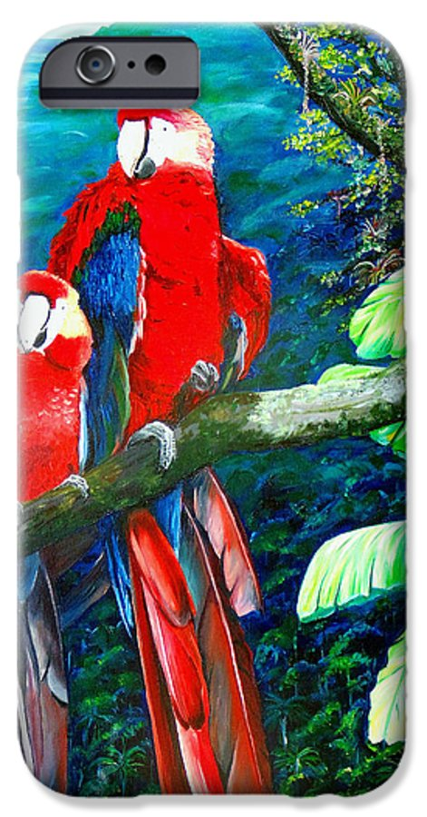Caribbean Painting Green Wing Macaws Red Mountains Birds Trinidad And Tobago Birds Parrots Macaw Paintings Greeting Card  IPhone 6 Case featuring the painting Who Me  by Karin Dawn Kelshall- Best
