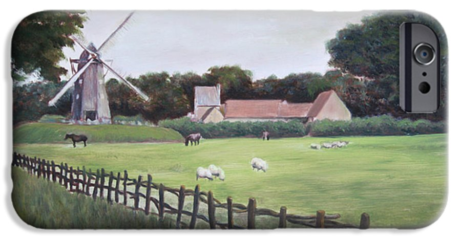 Farm IPhone 6 Case featuring the painting Windmill On Farm by Jennifer Lycke