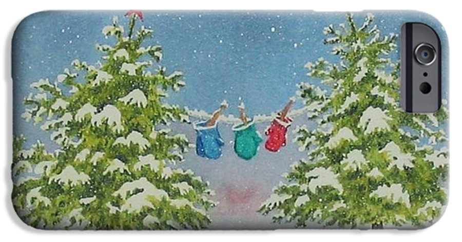 Fun IPhone 6 Case featuring the painting Winter Is Fun by Mary Ellen Mueller Legault