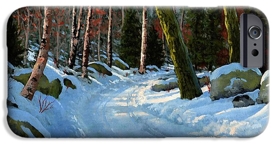 Landscape IPhone 6 Case featuring the painting Winter Road by Frank Wilson