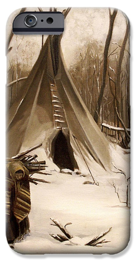 Native American IPhone 6 Case featuring the painting Wood Gatherer by Nancy Griswold