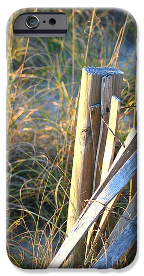 Post IPhone 6 Case featuring the photograph Wooden Post And Fence At The Beach by Nadine Rippelmeyer