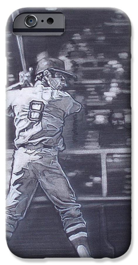 Charcoal IPhone 6 Case featuring the drawing Yaz - Carl Yastrzemski by Sean Connolly