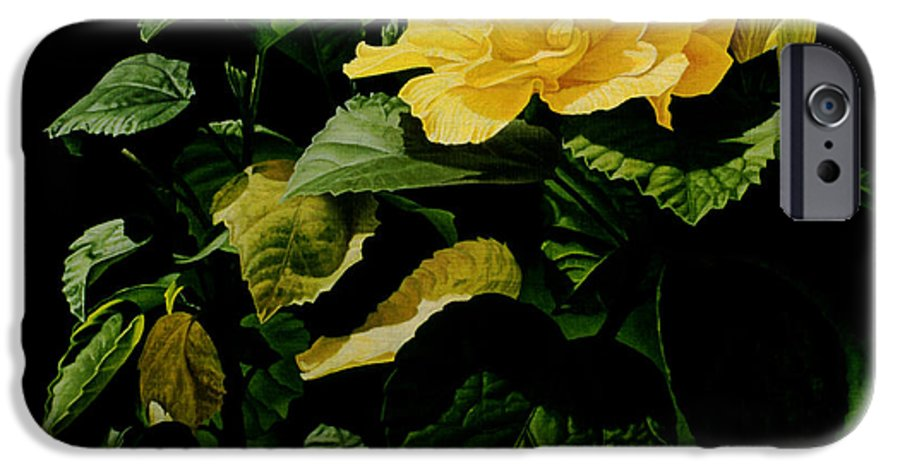 Floral IPhone 6 Case featuring the painting Yellow Hibiscus by Gary Hernandez