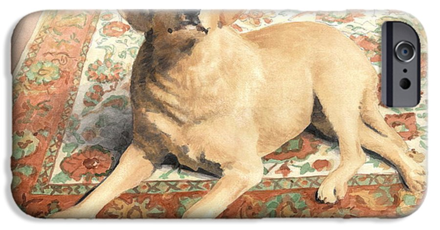 <a Href=http://miketheuer.com>miketheuer.com</a> Yellow Lab On A Rug Watercolor Portrait IPhone 6 Case featuring the drawing Yellow Lab On A Rug Watercolor Portrait by Mike Theuer